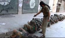 Insurgent Shooting Captured Assad Troops.