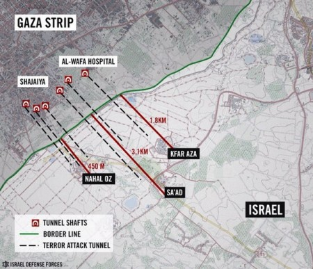 Map Showing the Gaza Militants Tunnels Into Israel