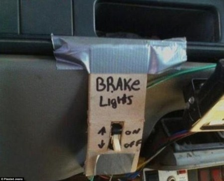This gentleman found out his brake lights were not working. A switch on the dashboard fixed that.