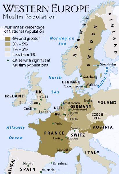 Muslim Concentration Areas In Europe