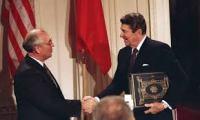 Reagan and Gorbachov Sign Nuclear Treaty.